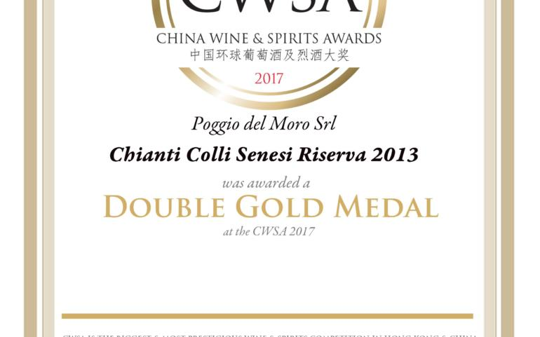 Poggio del Moro Chianti DOCG Riserva 2013 took a Double Gold Medal in international competition CWSA 2017 in China!