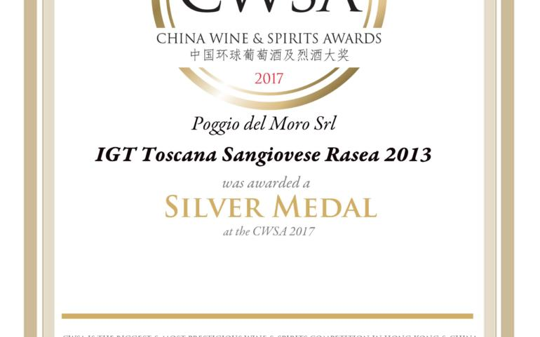 Poggio del Moro RASEA IGT 100% Sangiovese took Silver Medal in international competition CWSA 2017 in China!