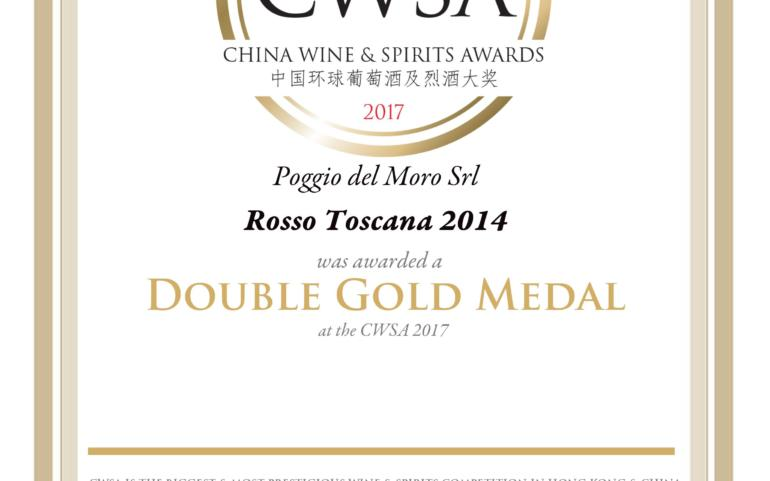 Poggio del Moro Rosso Toscana IGT 2014 took a Double Gold Medal in international competition CWSA 2017 in China!